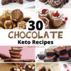 collage of chocolate dessert recipes that are keto friendly