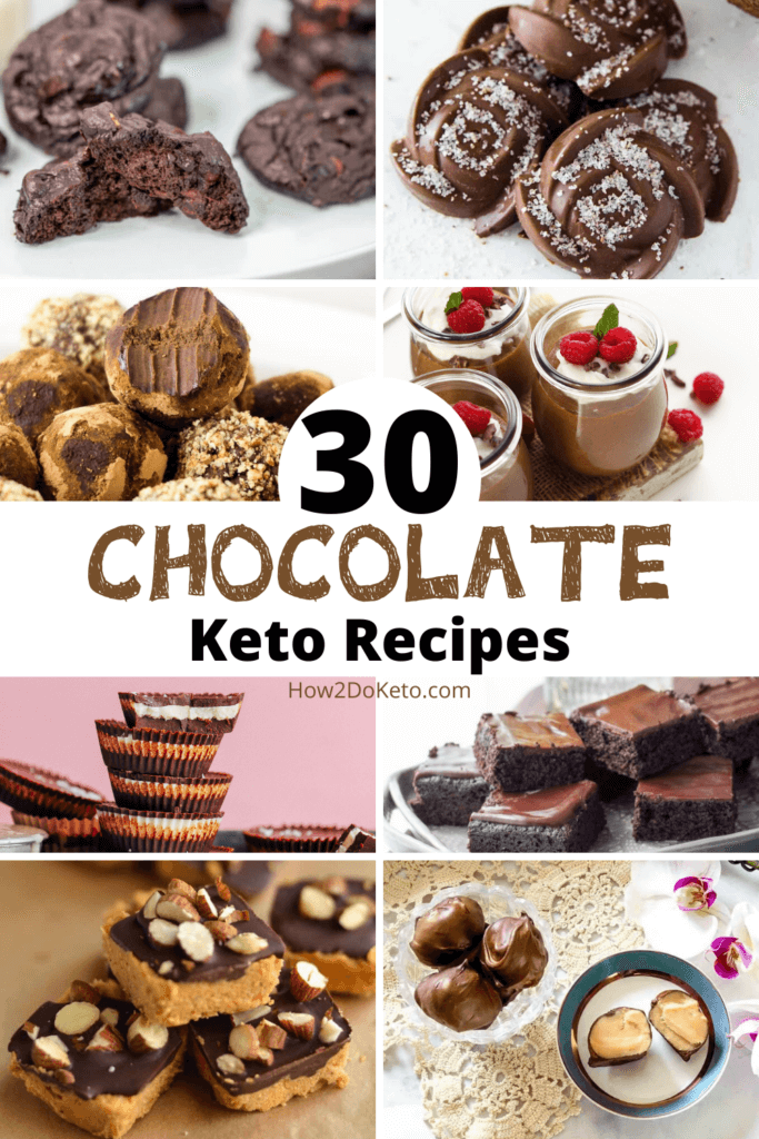 "collage of chocolate dessert recipes with text overlay ""30 Chocolate Keto Recipes"""