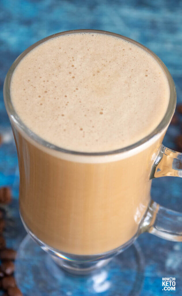close up of frothy bulletproof coffee
