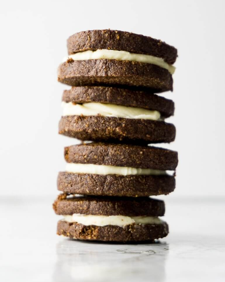 stack of homemade oreo style cookies