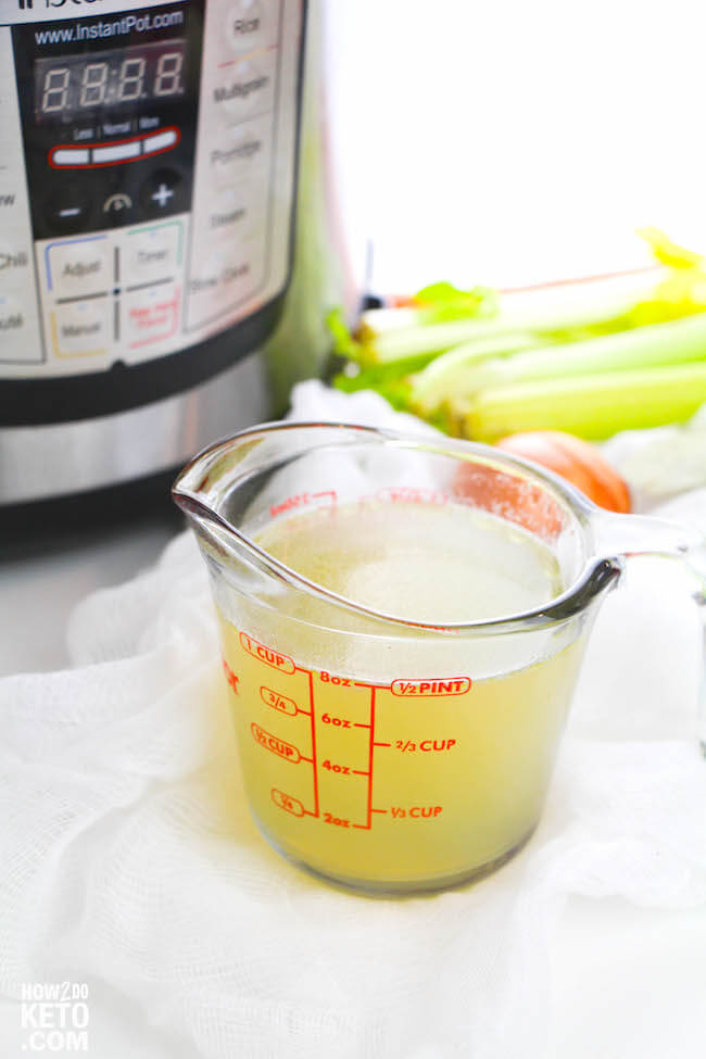 Bone broth is known for it's amazing health benefits, and now you can make it in less than an hour with this easy Instant Pot Chicken Bone Broth recipe!