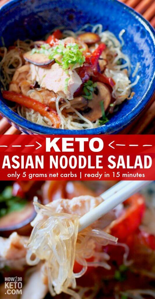This Keto Asian Noodle Salad is a magical dish that satisfies those cravings for noodles, without all the carbs and sugar! Only 5 grams net carbs per serving!