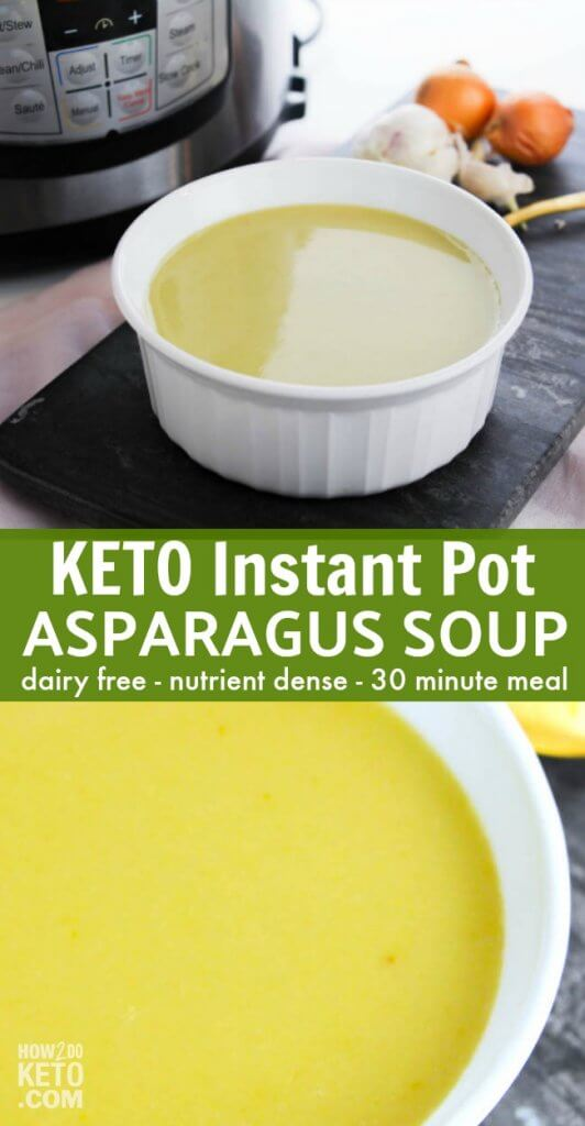A rich and creamy comfort food that the whole family will love - this Keto Instant Pot Asparagus Soup is ready in less than 30 minutes and packed with nutrients!