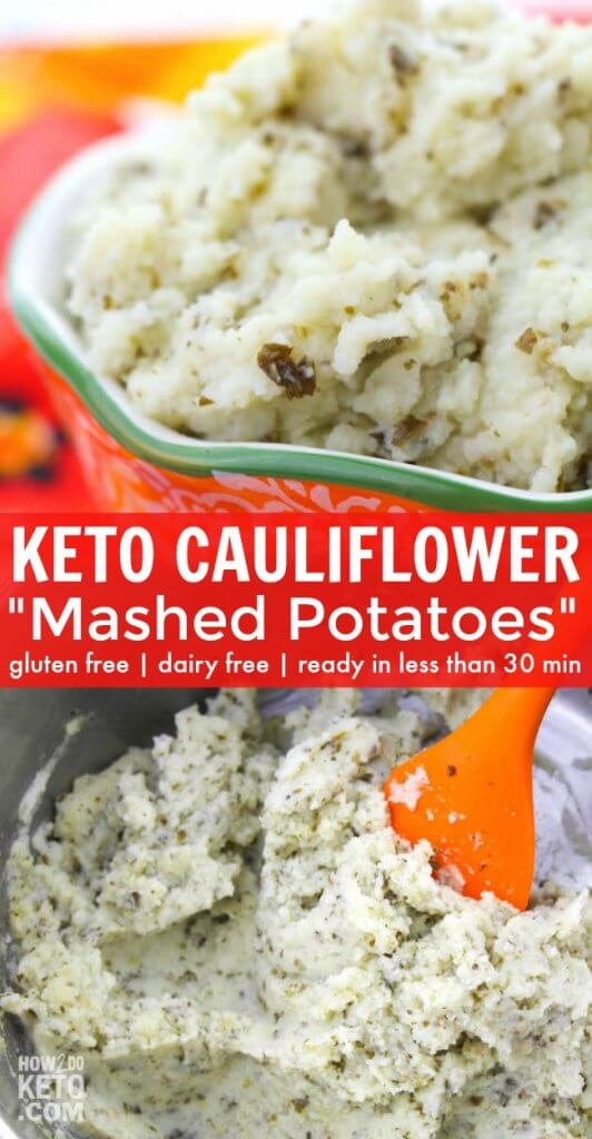 "Flavorful pesto makes these Keto Cauliflower Mashed Potatoes a keeper...comfort food without all the carbs! You won't even miss the ""real"" thing!"