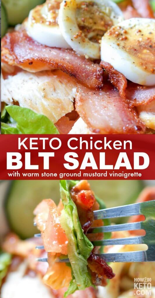 Who needs bread?? This Keto Chicken BLT Salad has all the good stuff...without all the carbs! Topped with a tangy mustard vinaigrette - this salad rocks!!