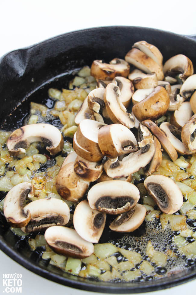 Sauteed onions and mushrooms in cast iron skillet