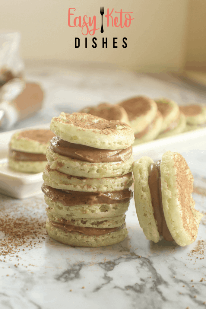 stack of homemade macarons with chocolate filling