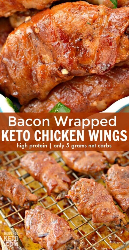 Everything is better with bacon, right?! Bacon Wrapped Keto Chicken Wings are packed with protein and flavor! The ultimate keto appetizer recipe!
