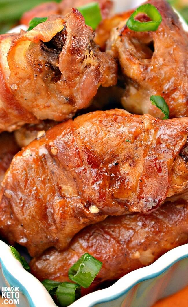 Close-up of bacon wrapped chicken wings