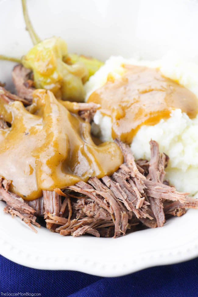 This Instant Pot Mississippi Style Keto Pot Roast so tender you can cut it with a fork! We've taken a comfort food classic and made it keto-friendly (but every bit as flavorful!)