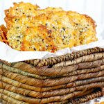Low carb cheese chips in a wicker basket
