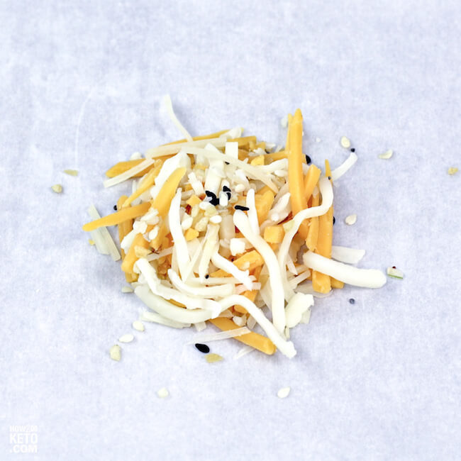 Shredded cheese on parchment paper