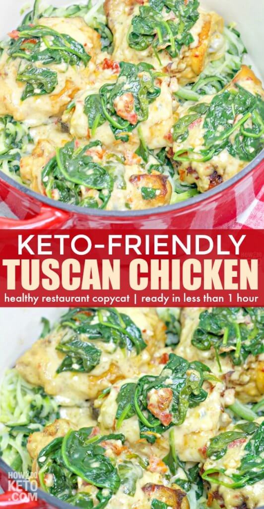 This Keto Tuscan Chicken is a low-carb version of a restaurant favorite - make it at home in less than an hour! All the flavor and only 9 grams net carbs!