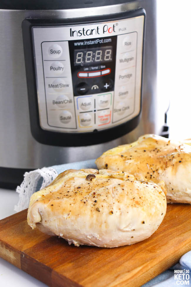Instant Pot Chicken Breasts are an easy and healthy staple perfect for meal planning! Ready in about 20 minutes and only 1 gram carbs per serving!