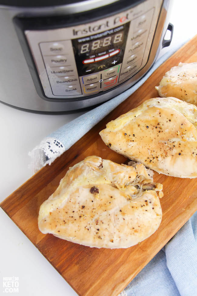 Instant Pot Chicken Breastsare an easy and healthy staple perfect for meal planning! Ready in about 20 minutes and only 1 gram carbs per serving!