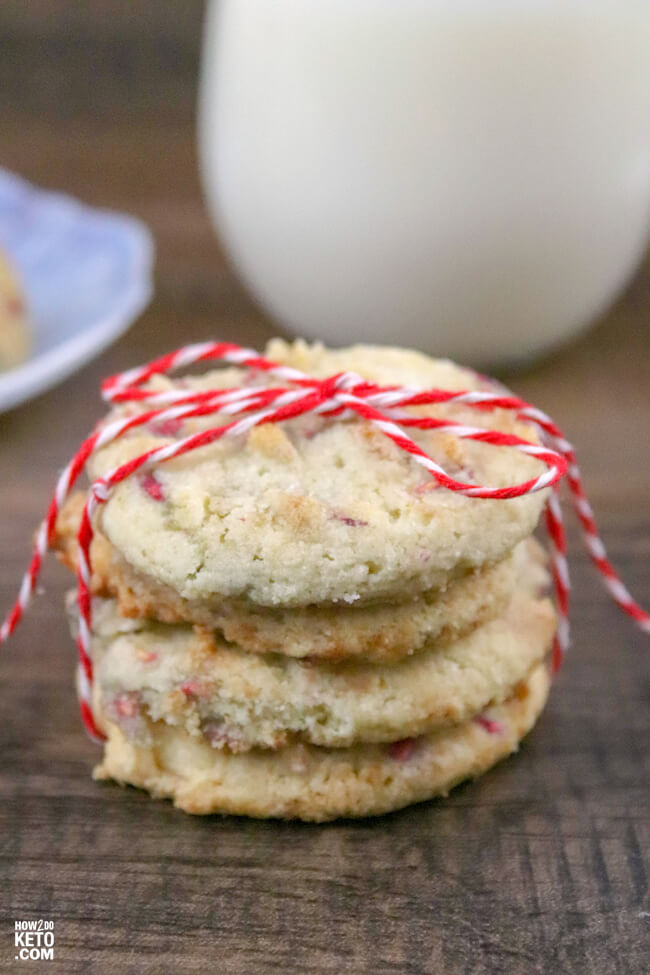 These Low Carb Raspberry Almond Shortbread Cookies are the perfect crumbly, buttery texture and less than 1 gram net carbs per serving!