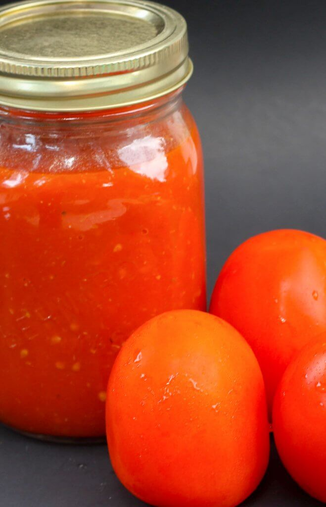 homemade tomato sauce in jar
