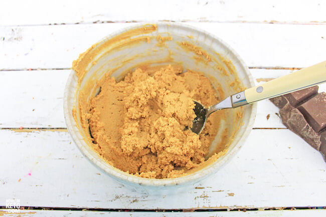 mixing peanut butter and cream cheese in bowl