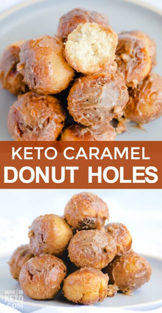 You won't believe how amazing these keto donut holes taste! Rich, cake-style low carb donuts topped with a sweet caramel glaze - you won't believe they're keto-friendly!
