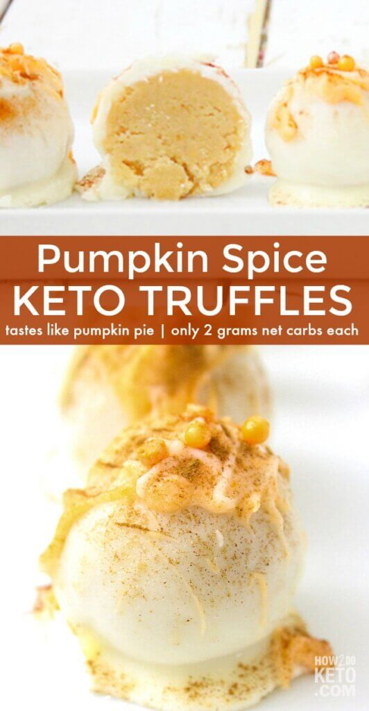 These creamy and delicious Pumpkin Spice Keto Truffles are the perfect treat for any pumpkin lover! Taste just like pumpkin pie and only 2 grams net carbs each!