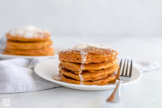 A fun keto take on a classic breakfast, these Keto Carrot Cake Pancakes are the perfect way to start your day!