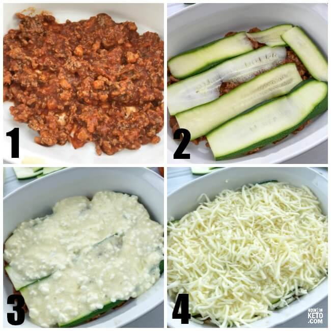 photo collage showing how to layer keto lasagna
