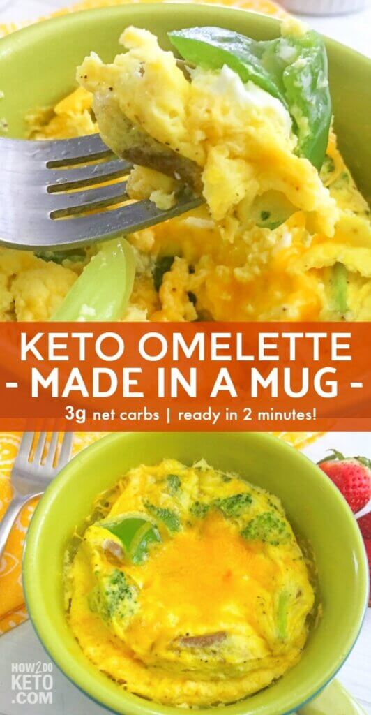 You CAN have a healthy home-cooked low carb breakfast every day! This easy Keto Omelet in a Mug will start your mornings off on the right track and it's ready in 2 minutes!!