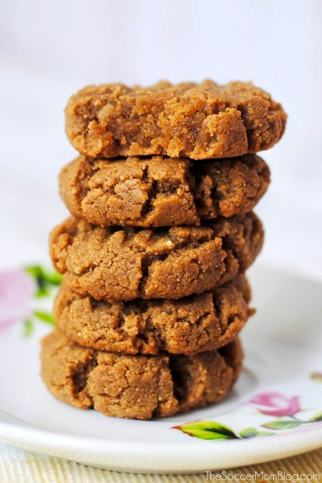 stack of keto peanut butter cookies - one of our favorite keto Christmas desserts