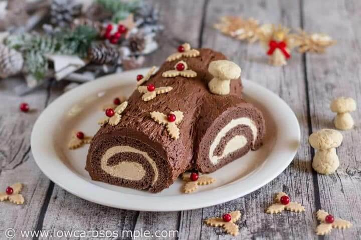 a gorgeous keto Christmas treat: keto yule log