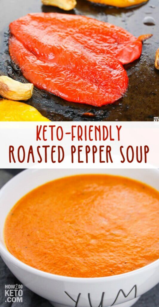 roasted red peppers and a bowl of red pepper soup