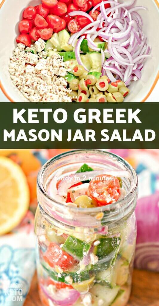 This simple and delicious Mason Jar Keto Greek Salad is an easy grab-and-go meal that's packed with nutritious vegetables! Perfect for meal prepping!