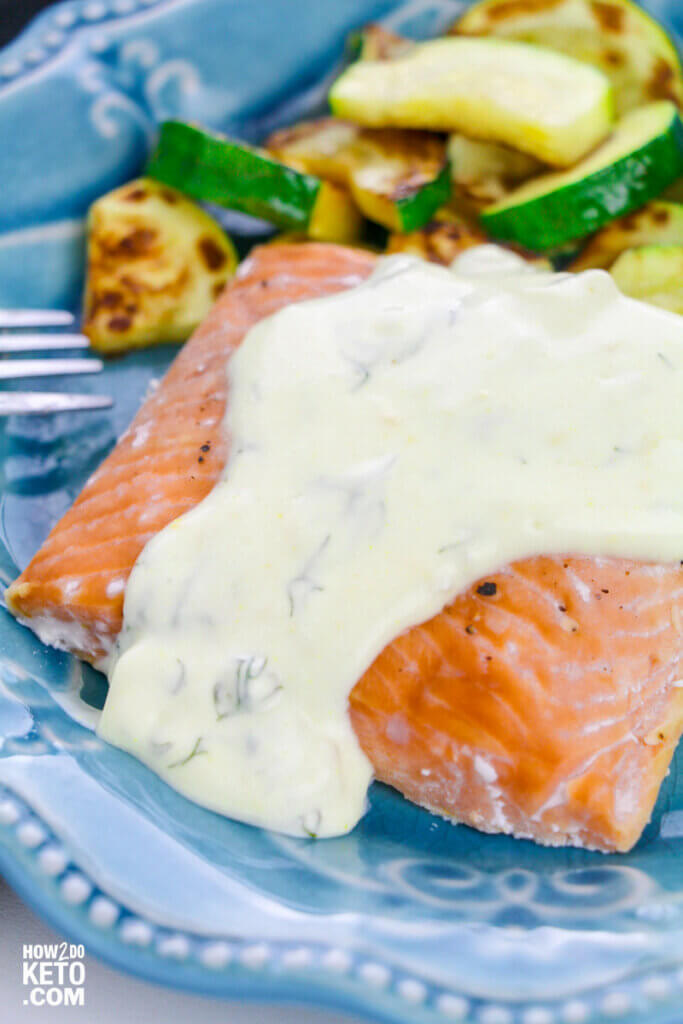 This Keto Salmon with Dill Sauce is a light and fresh keto option for the whole family!