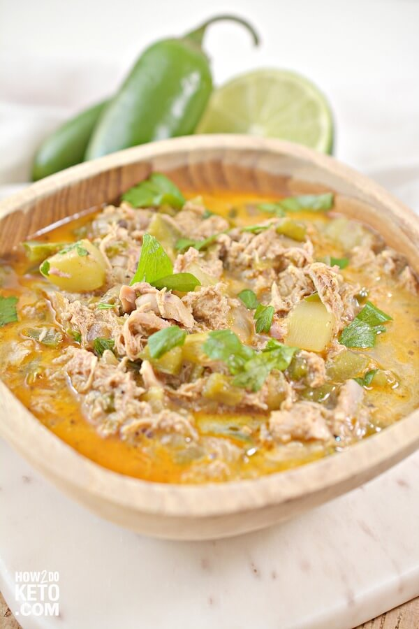Our delicious Keto White Chicken Chili is a great party dish! Plus, with only 5 net carbs per serving it's guilt-free!
