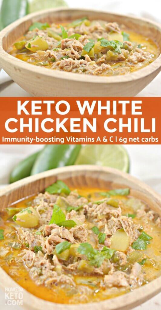 It doesn't get any better on a cold day than this delicious Keto White Chicken Chili! Bursting with flavor from fresh veggies, tender chicken, creamy broth, and a little kick of spice, it's like no other chili recipe you've ever tasted! This healthy low carb white chicken chili is also packed with immunity boosting vitamins and minerals. We'll show you how to make it the traditional way on the stovetop, or in the crockpot for an easy set-it-and-forget it meal!