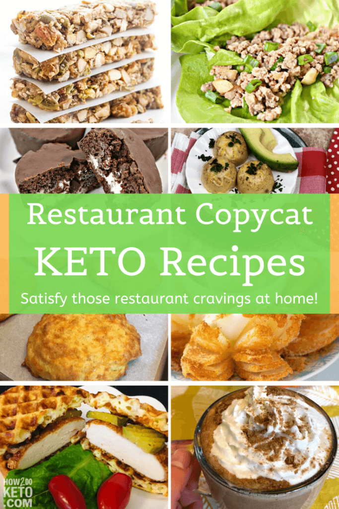 collage of photos of keto copycat recipes of restaurant and takeout meals
