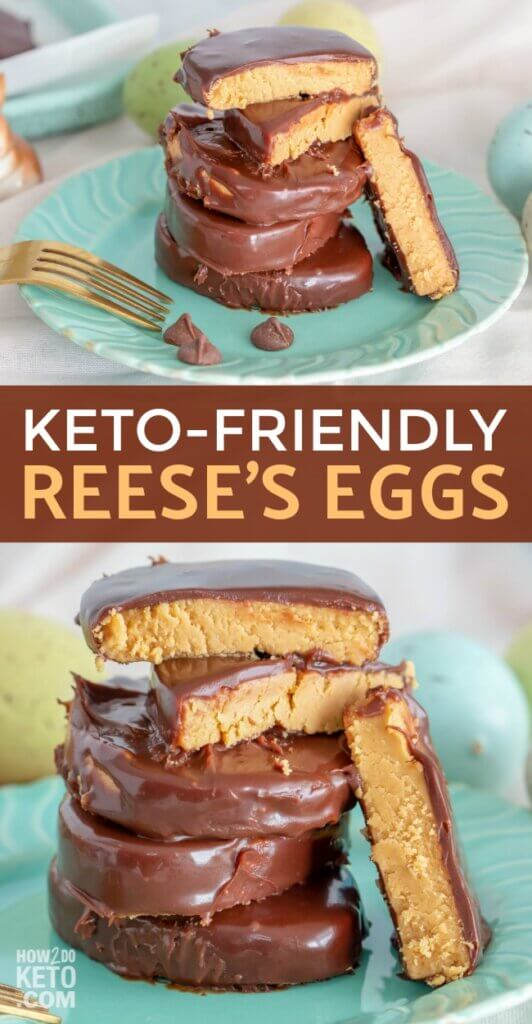 Love Reese's Peanut Butter Eggs? Sad that you can't eat them on the keto diet? Don't be!! We created a spot-on sugar free Reese's eggs copycat recipe that are downright amazing!! Even better, each one of these decadent Keto Peanut Butter Eggs is only 4g net carbs!