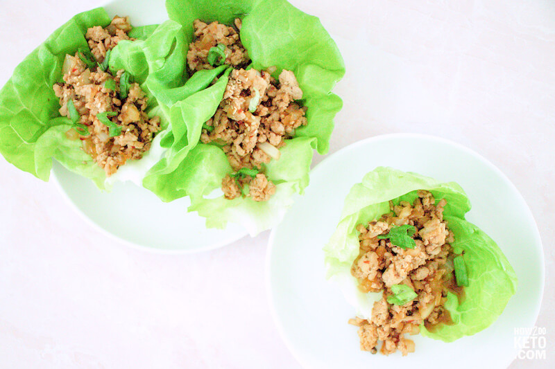 keto chicken lettuce wraps on white plate