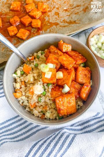 crispy firecracker tofu served with cauliflower rice