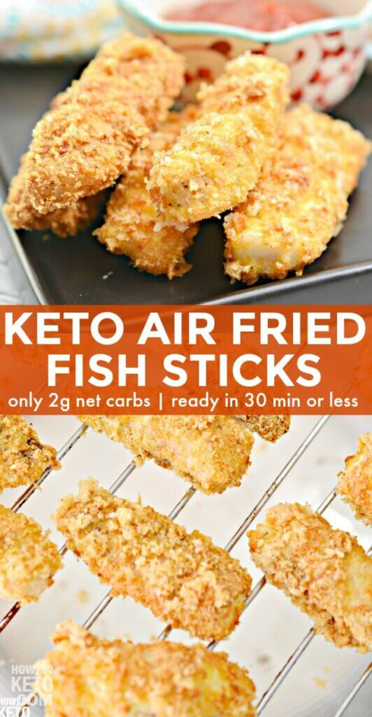 Tender white fish wrapped in a delicious crispy coating...and only 2 net carbs per serving! These Keto Air Fryer Fish Sticks are a favorite with the whole family!