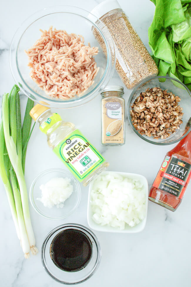 ingredients to make keto Asian lettuce cups