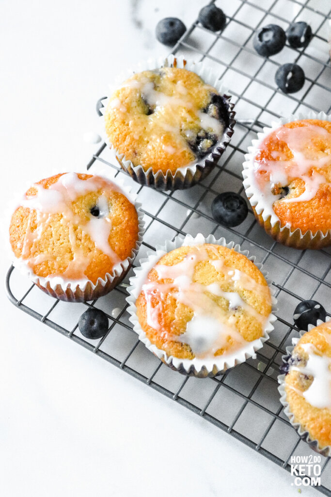 top down view of keto blueberry muffins