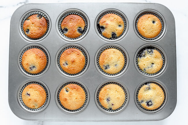 fresh baked keto blueberry muffins still in the pan