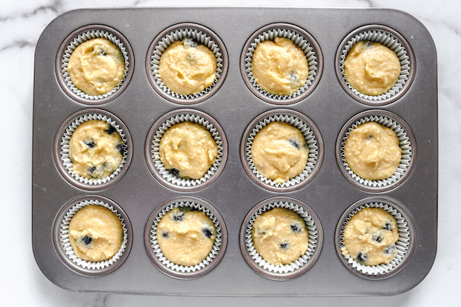 low carb blueberry lemon muffin batter in cupcake pan