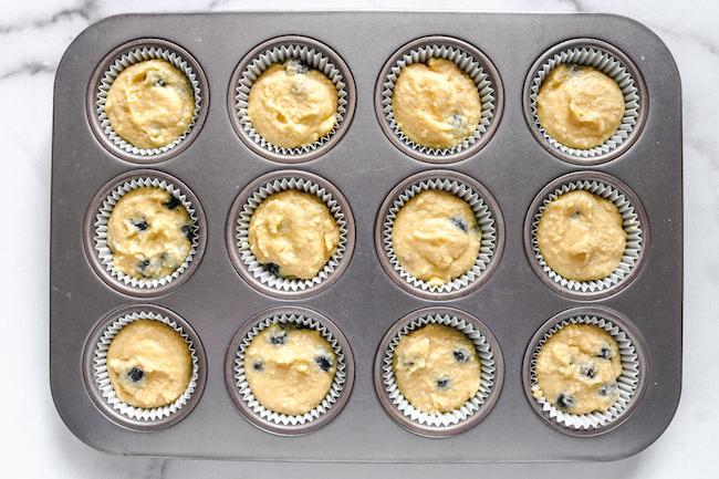 low carb blueberry lemon muffin batter in cupcake pan