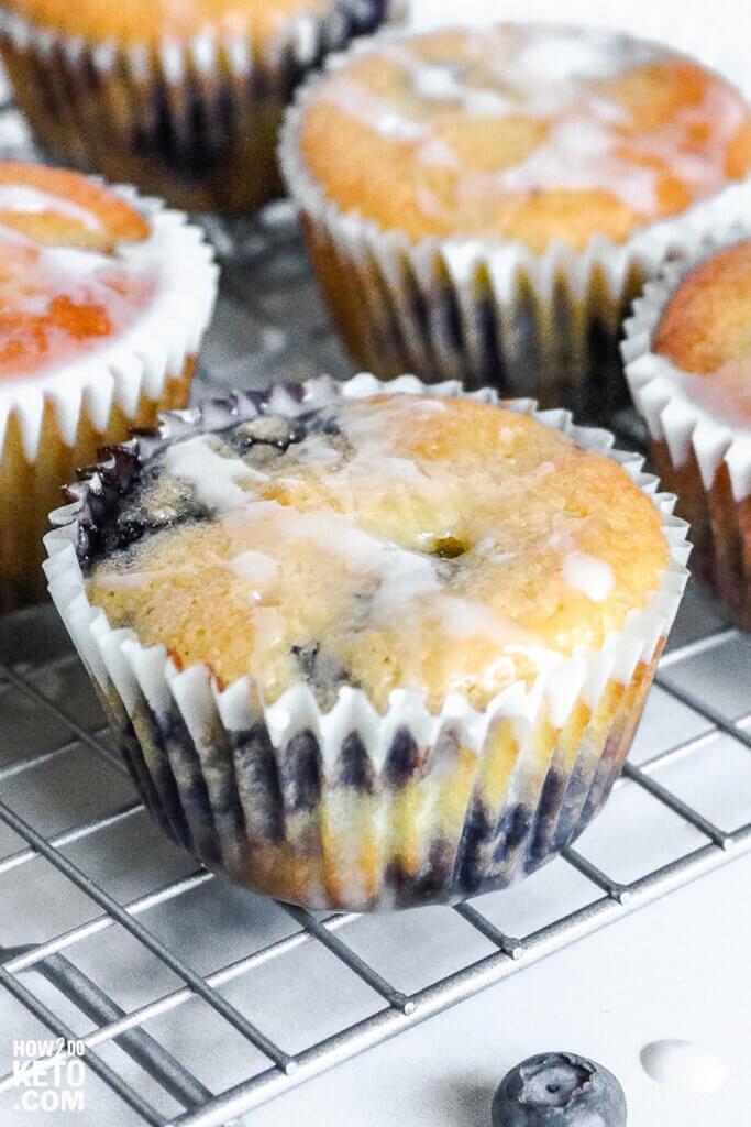 keto blueberry muffin with lemon glaze