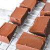 keto chocolate fudge squares on wire rack