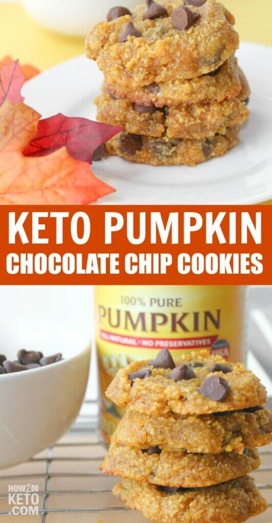 keto pumpkin chocolate chip cookies collage