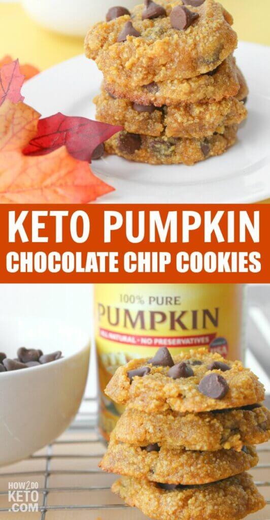 keto pumpkin chocolate chip cookies collage