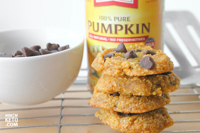 sugar free pumpkin chocolate chip cookies on wire cooling rack