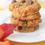 pumpkin keto chocolate chip cookies with fall background